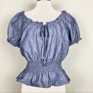 American Living Blue Chambray Peasant Style Blouse